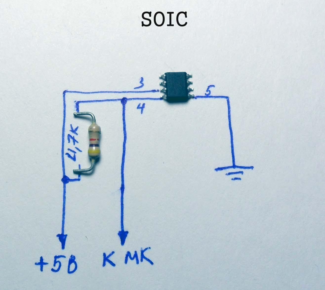 Подключение DS18B20 в корпусе SOIC